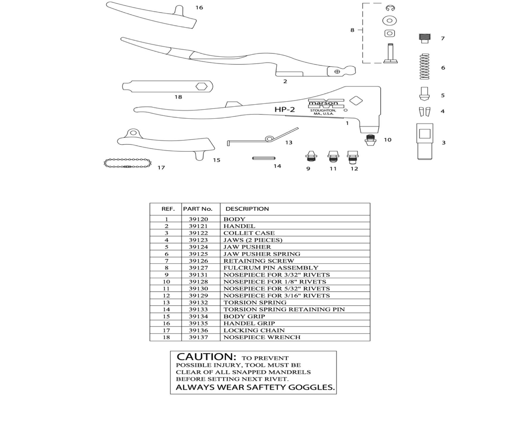 Marson 39000 Hp 2 Rivet Tool Blind Rivet Supply