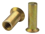 Atlas AEA10KB266, Rivetnut Insert, 10-32 UNF-3B (.216-.266 Grip) Round Body, Countersunk Head/Keyed, Closed End, Aluminum, Gold Anodized