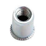 Sherex CAT2-3118, Nutsert Insert, 5/16-18 UNC-2B, Material Thickness (.030-Up) Round Nutsert Splined, Low Profile Head, Steel, Cadmium Clear