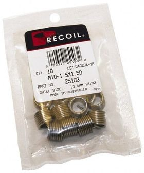 Recoil® 24073 Tanged Free-Running Coil Threaded Insert, 7/16-20 UNF, 1.5D/0.657 Inch Length, 304 Stainless Steel, 10/Pack